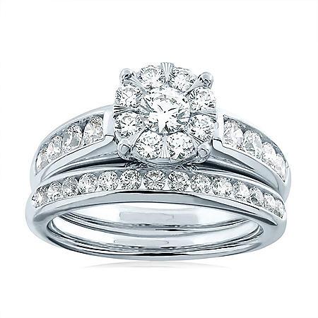 1.46 CT. T.W. Diamond Bridal Set in 14K White Gold