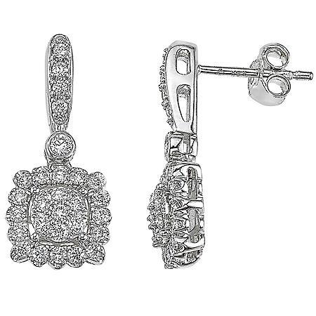 0.71 CT. T.W. Diamond Drop Earrings in 14K White Gold