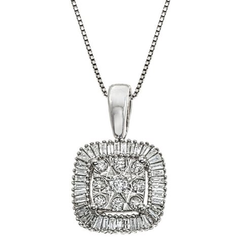 0.30 CT. T.W. Diamond Cushion Shaped Pendant in 14K White Gold