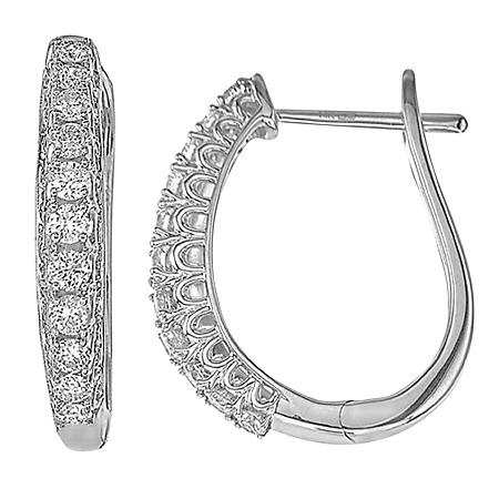 0.48 CT. T.W. Diamond Hoop Earrings in 14K White Gold