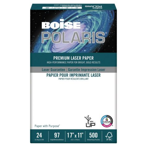 Boise HD:P Presentation Laser Paper, 96 Brightness, 24lb, 11 x 17, White -  500/Ream