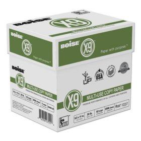 Boise X-9 Copy Paper, 92 Brightness, 20lb, 8-1/2 x11, White -  2500 Sheets/Carton