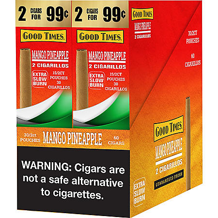 Good Times Mango Pineapple Cigars 2 for $0.99 (60 ct.)