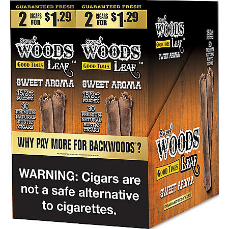 Sweet Woods Leaf Sweet Aroma Cigars Pre-Marked 2/$1.29 (2 ct., 30 pk.)