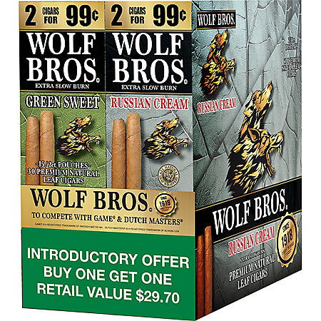 Wolf Bros. Russian Cream/Green Sweet Natural Leaf Cigarillos (2 boxes, 15 ct. 2-pks.) Pre-Marked 2/$0.99