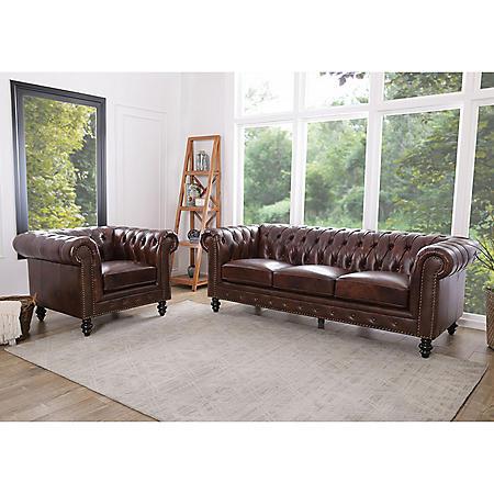 Rockford Brown Top-Grain Leather Sofa and Armchair