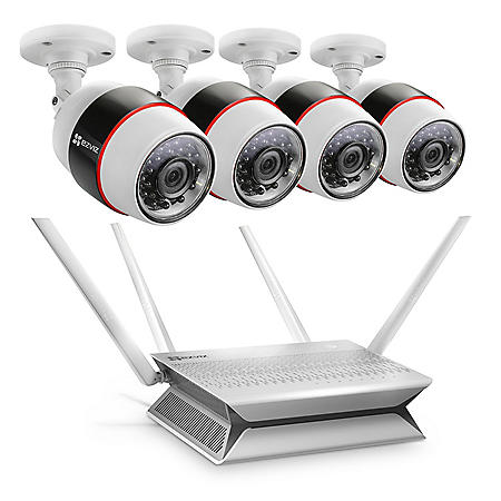 EZVIZ 8-Channel 1080p Wi-Fi NVR Surveillance System with 1TB Hard Drive, 4-Cameras 1080p Indoor/Outdoor Wi-Fi Cameras