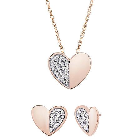 0.10 CT. T.W. Diamond Heart Set in 14K Rose Gold
