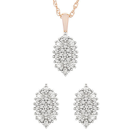 0.33 CT. T.W. Necklace and Earring Set in 14k Gold