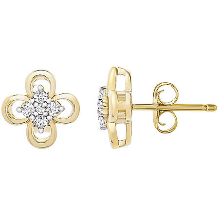 0.10 CT. T.W. 14K Yellow Gold Clover Earrings (I-I1)