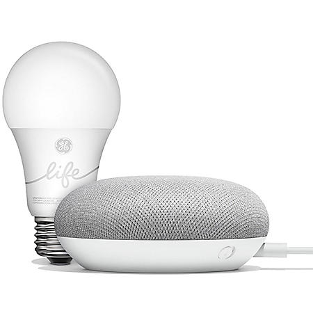 Google Home Mini Chalk and GE C-Life Smart Bulb