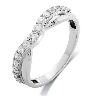 1/2 CT.TW. Round Cut Diamond Ladies Contour Band in White Gold (H-I, I1)