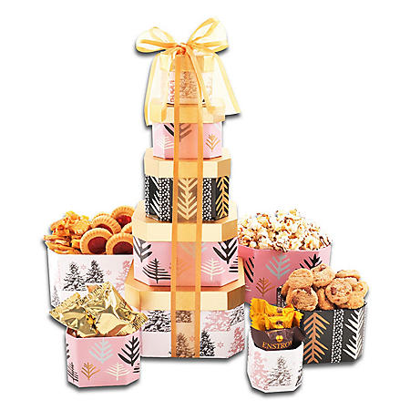 Black, Blush and Gold Holiday Gift Tower