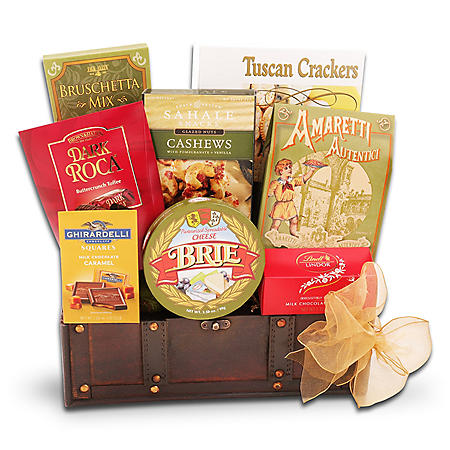 Small Wooden Trunk Snack Gift Basket