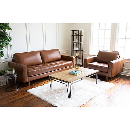 Benjamin Mid-Century Top-Grain Leather Sofa and Armchair