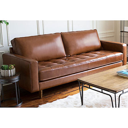 Benjamin Mid-Century Top-Grain Leather Sofa