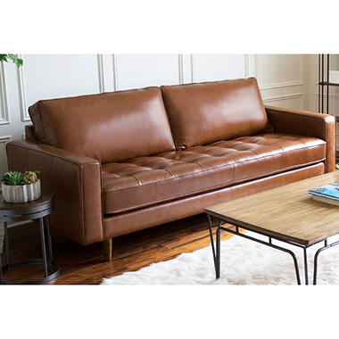 Benjamin Mid Century Top Grain Leather Sofa