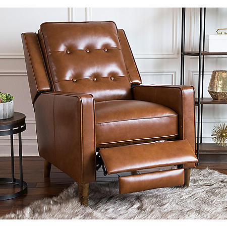 Benjamin Mid-Century Top-Grain Leather Pushback Recliner