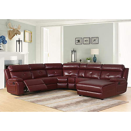 David 6-Piece Red Reclining Sectional