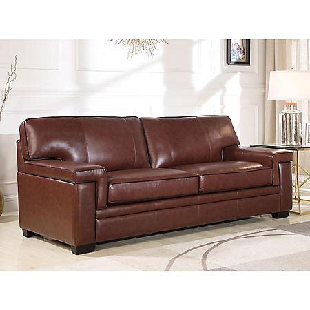 Divani Top-Grain Brown Leather Sofa