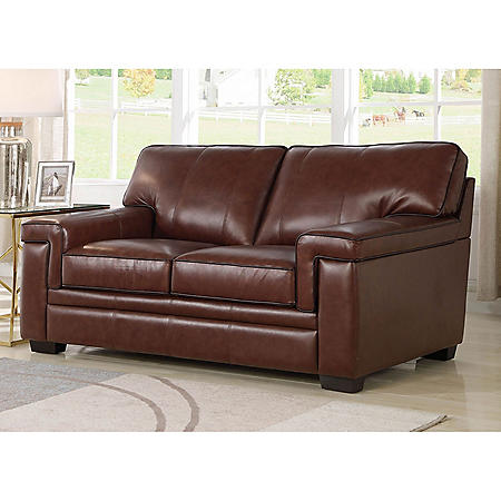 Divani Top-Grain Brown Leather Loveseat