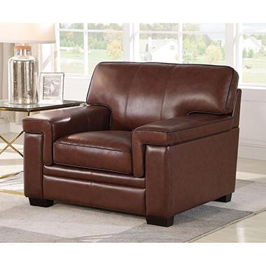 Divani Top-Grain Brown Leather Armchair - Sam's Club