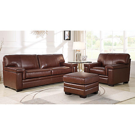Divani Top-Grain Brown Leather Sofa, Armchair and Ottoman - Sam\'s Club