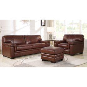 Divani Top-Grain Brown Leather Sofa, Armchair and Ottoman