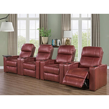 TRAVIS4PCTHEATER RED POWER RECLINING SET