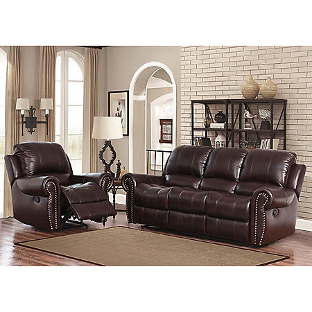 Bentley Top-Grain Leather Reclining Sofa and Armchair
