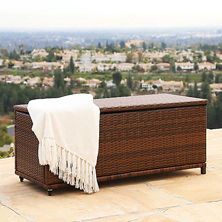 Shelby Outdoor Wicker Storage Ottoman, Brown