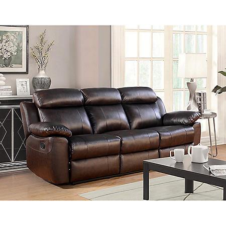 Manhattan Top-Grain Leather Reclining Sofa