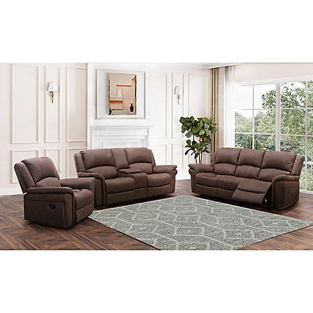 Thomas 3-Piece Fabric Reclining Sofa Set, Dark Brown