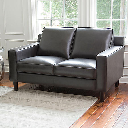Kennedy Top-Grain Leather Loveseat, Gray or Cream