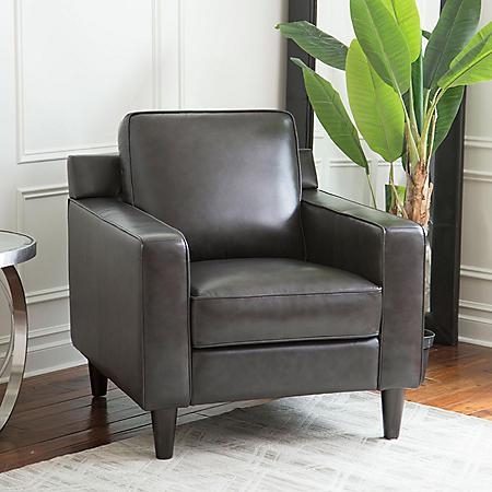 Kennedy Top-Grain Leather Armchair, Gray or Cream