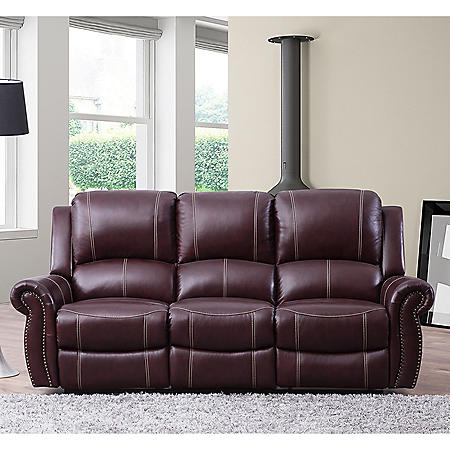Vincent Top-Grain Leather Reclining Sofa