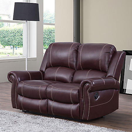 Vincent Top-Grain Leather Reclining Loveseat