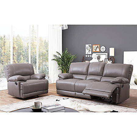 Christopher Top-Grain Leather Reclining Sofa and Armchair
