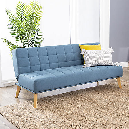 Darby Mid-Century Tufted Fabric Convertible Sofa Futon (Assorted Colors)