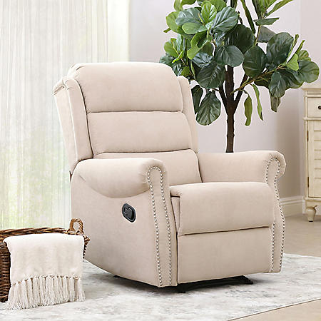Georgia Fabric Nailhead Recliner