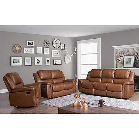 Syracuse Top-Grain Leather Reclining Sofa, Loveseat and Armchair Set