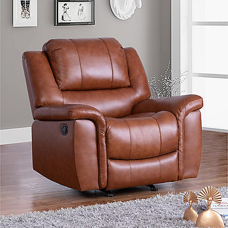Syracuse Top Grain Leather Reclining Armchair
