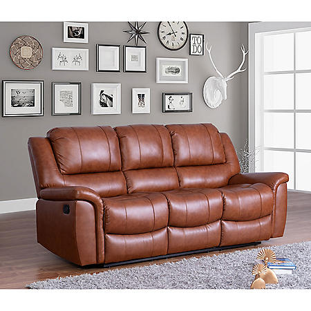Syracuse Top-Grain Leather Reclining Sofa