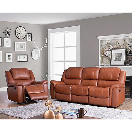 Syracuse Top-Grain Leather Reclining Sofa and Armchair Set