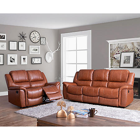 Syracuse Top-Grain Leather Reclining Sofa and Loveseat Set
