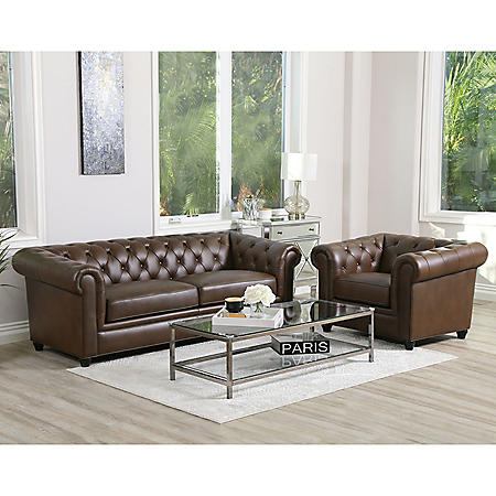 Woodbridge Tufted Chesterfield Sofa and Armchair (Assorted Colors)