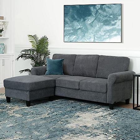 Clarence Fabric Reversible Sofa Sectional (Assorted Colors)