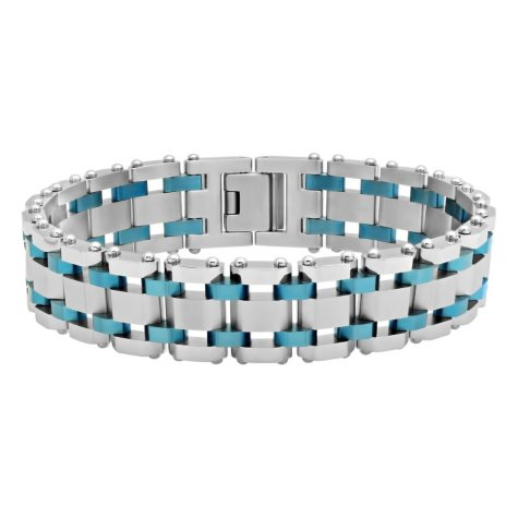 Men's Stainless Steel with Blue IP Plating Watch Band Style Bracelet