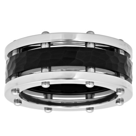 Men's Stainless Steel Hammered and Riveted Ring