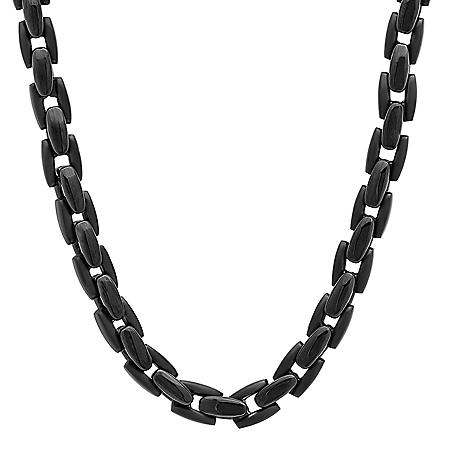 Men's Black IP Plated Stainless Steel Chain and Bracelet Set